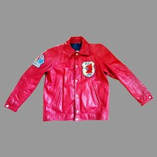Men's Genuine Wine Red Leather Jacket.  Bomber Style.  Size 42.  Top Quality. Perfect Condition.