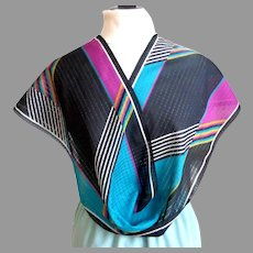 Fabio Pucci Designer Scarf.  Signed.  Rectangular.  Geometric Graphics in many colors.  Striking.  As New Condition.