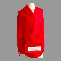 Pashmina.  Woven Designs.  Tomato  Red on Red.  70% Pashmina, 30% Silk.  Gorgeous Quality.  New Condition.