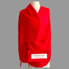 Pashmina.  Woven Designs.  Tomato  Red on Red.  70% Pashmina, 30% Silk.  Gorgeous Quality.  New Condition.