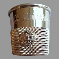 "Silverplate Jigger.  ""Only a Thimble Full"" Engraved.  Monticello Plaque on Side.  As New Condition."