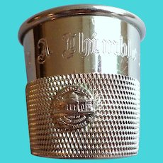 """Silverplate Jigger.  """"Only a Thimble Full"""" Engraved.  Monticello Plaque on Side.  As New Condition."""
