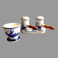 Delft Blue Holland Salt & Pepper Shakers on Tray with Matching Egg Cup.  Windmills.  Mint Condition.
