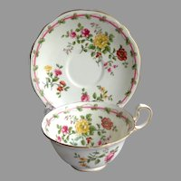 AYNSLEY Fine Bone China England Cup and Saucer.  Florals.