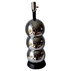 Mid-Century Modern Atomic Style Lamp.  1960's.  Black and Silver.  Immaculate Condition.