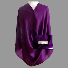 70% Cashmere.  30% Silk.  Pashmina.  Royal Purple. Super Gorgeous.  As New Condition.