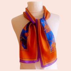 ELAINE GOLD Designer Scarf.  100%  Silk.  Rectangular.  Purple, Gold, Bronze.  Fall Themed.  Perfect Condition.