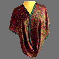 100% Silk Scarf.  Totally Beautiful.  Wonderful Graphics.  Multicolored.  Rectangular.  Perfect Condition.