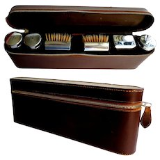 1930's Men's Travel Grooming Case and Set.  Made in England.  Unusual.  Quality ++.  Mint Condition.