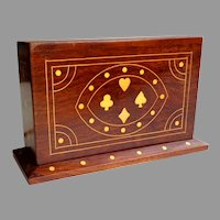 Playing Card Case / Box.  Solid Wood Inlaid with Brass & Copper.  2 Pieces.  Commissioned. One-of-a-Kind.