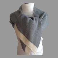 Anne Klein II Wool and Acrylic Shaped Scarf / Shawl.  Gray & Cream.  As New Condition.