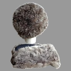 Rabbit Fur Hat with Matching Mitts.  So Soft, So Cozy.  Gorgeous.  Mint Condition.