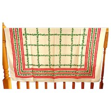 Vintage Linen Christmas / Holiday Tablecloth.  Holy Patterns.  Mint Condition.