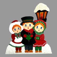 """Stand with 3 Children Carol Singers Before City Lantern.  10"""" by 12"""".  Handpainted. Signed.  Perfect Condition."""