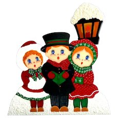 "Stand with 3 Children Carol Singers Before City Lantern.  10"" by 12"".  Handpainted. Signed.  Perfect Condition."