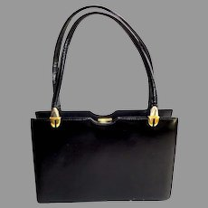 Black Polished Calf, Genuine Leather.  Kelly Style Purse.  Elegant ++.  Mint Condition.