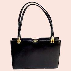 Black Polished Calf, Genuine Leather.  Kelly Style Purse.  Elegant ++.  Mint Condition.