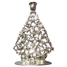 "Silver Decorated Christmas Tree Candleholder.  10 1/4"" Tall.  So Attractive!"