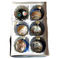 GERMAN Village Scenes on Satin.  5 Christmas Tree Balls. 1970's.  Plus 1 Old Handpainted.
