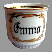 """""""EMMA"""" Porcelain Mug.  Czechoslovakia.  Retailed in Vienna.  White & Gold.  Perfect Condition."""