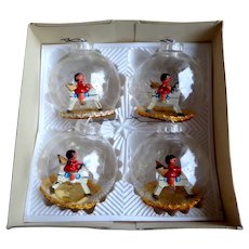 GERMAN Clear Christmas Tree Balls with Wooden Angels on Horseback. 1970's.  Mint Condition.