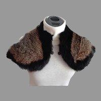 1920's Genuine Fur Collar / Mini Cape.  Unique Design.  Adorable Retro.  Mint Condition.
