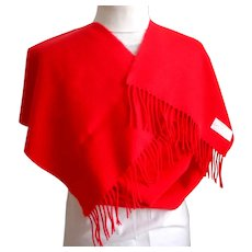 100% Cashmere Scarf.  Made in Scotland.  Red. Incredibly Soft & Wonderful.  As New Condition.