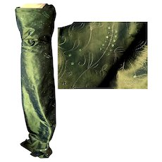 Gorgeous Taffeta Polyester Fabric with Sequins and Topstitching Designs.  Deep Olive Green.  Mint, Unused Condition.
