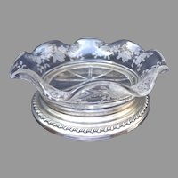 Sterling Footed and Etched Glass Dish.  Condiments, Bonbons, etc.  Exquisite.  Perfect Condition.