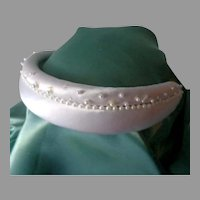 Puffy White Satin Headband with Pearls.  Gorgeous.  As New, Unused Condition.