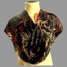 100% Double Layer China Silk Rectangular Scarf.  MWT.  Black, Gold & Red.  Super Luxurious.