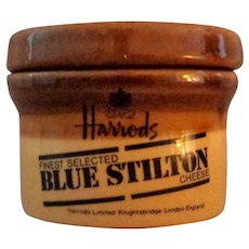 Harrod's Blue Stilton Cheese Ceramic  Lidded Jar.  Brown and Baize.  Empty.  Perfect Condition.