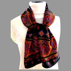 Exquisite Poly Crepe Rectangular Scarf.  Wonderful Graphics.  Brown, Black, Orange.  As New Condition.