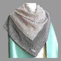 100% Silk Bill Blass Designer Scarf.  Black and White Classic Chic.  Mint Condition.