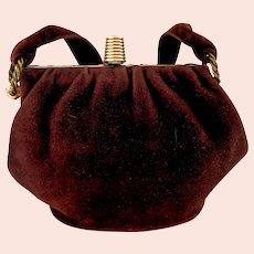 Genuine Suede Leather 1940's Handbag. Chocolate.  Interior Attached Change Purse.