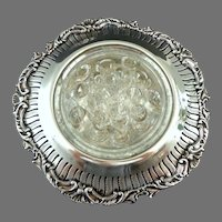 Old English Reproduction.  Silver Plate Flower Bowl / Vase with Glass Frog Insert.