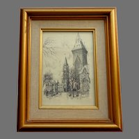 Black & White Etching / Print.  Houses of Parliament, Ottawa. Signed: Schonberger.  Framed.