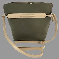 Genuine Leather Tote Crossbody Purse.  Deep Olive Green with Gray accents.  Excellent Condition.