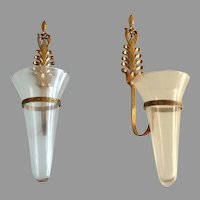 Mid Century Modern Pair Ornate Brass &  Glass Candle Holders Wall Sconces.  Perfect Condition.