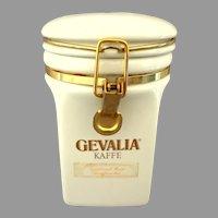 GEVALIA Kaffe Canister.  Sweden Crest.   White Porcelain Glazed Ceramic.  Empty.  Perfect Condition.