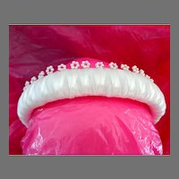 Puffy White Satin Headband with Pearl Flowers and Ribbon.  Gorgeous.  As New, Unused Condition.