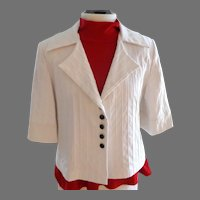 White Classic Style Jacket.  Custom Made.  3/4 Sleeves.  Cotton with Spandex.  Lined.  Size L.  Mint Condition.