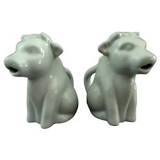 2 Little Sitting Cow China Creamers.  Charming.  Mint Condition.