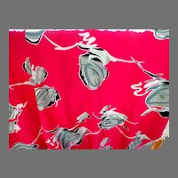 Fabric.  Vintage North Cott Silk Inc.  6 Yards + 29 Inches.  Deep Rose with Grey  and White.  Wonderful.  Unused.