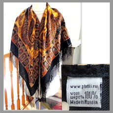 """100% Wool Russian Pashmina / Scarf / Throw.  Incredible Paisley Designs.  50"""" by 50"""" Large.  As New Condition."""