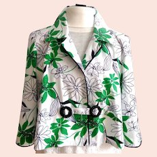Blouse / Light Jacket.   Black Piping  on White & Green .  Beaded Buckles Closure.  Mint Condition.