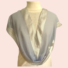 Exquisite Silver & Blue Gray Oblong Scarf.  As New Condition.