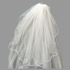 Two Tier Cathedral Length Veil.  All edges Satin Piped and Scattered Pearls.  White.  Mint Condition.  Wonderful ++.