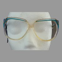 French Eye Glasses Frame.  Large.  1960's.  Turquoise Blue & Gold Tone Metal Accents.  Mint Condition.