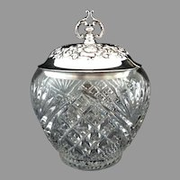 EAPG Condiment Jar with Silver Plate Repousse Lid.  Exquisite.   Perfect Condition.